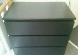 ikea Malm black 3 drawer