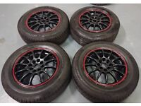 "TEAM DYNAMIC 15"" 4X100 / 108 ALLOY WHEELS + BRANDED TYRES!! HONDA TOYOTA FORS CITREON"