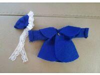 1:12 handmade dolls house felt jacket & bonnet set ooak navy