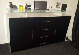 Black and white high gloss sideboard