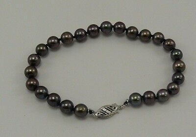 Akoya Black 5.9 mm - 6.4 mm Pearl Bracelet with 14k White Gold Clasp 7 1/4