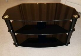 Black glass TV stand 3 tiers