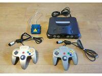 Nintendo 64 with 2 controllers, ISS 64 and more