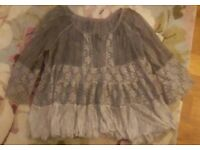 Ladies grey lace tunic style top size largw