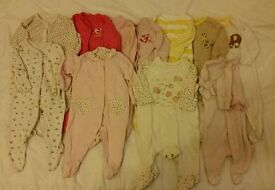 Baby girl 11 sleepsuits up to 1 month