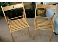 Pair of Folding chairs from Ikea TERJE Beech