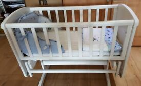 Urgent - Like New - Mothercare Deluxe Glider Crib with Mattress