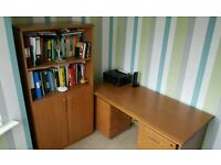 Office desk, 2 No drawer units and shelf unit set