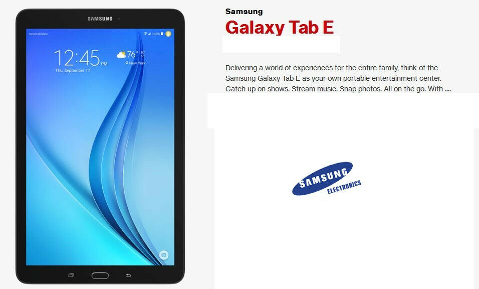"""9.6"""" Samsung Galaxy Tab E Android Tablet - Black- New in Box"""