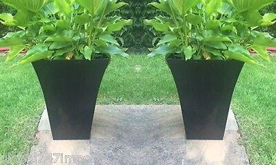 2 x medium  Milano Tall Planter Square Plastic Garden Flower Plant Pot  BLACK