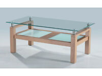 Modern Clear & Frosted Toughened Glass Oak Coffee Table With Undershelf RRP £299
