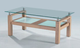 Modern Wood & Toughened Glass Coffee Table with 2 Lower Glass Shelves