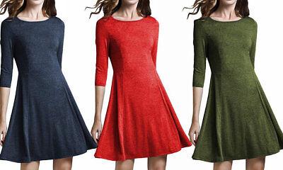 (Women's 3/4 Sleeve Flare Casual Basic Party A-Line Dress Tea Dress for Leggings)