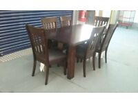 willis&gambier darkwood dining table & 6 chairs