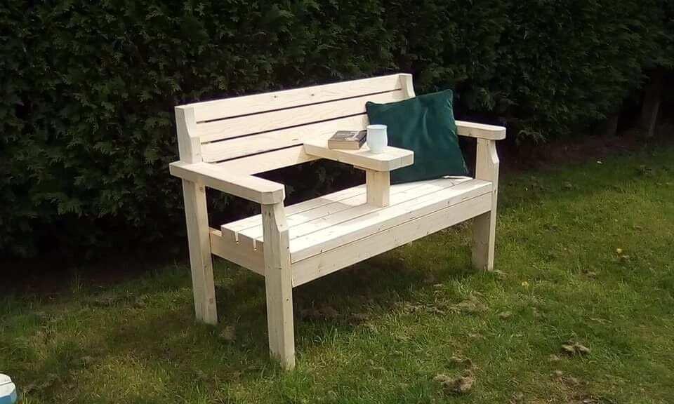 Wooden Bench With Small Middle Table And Armrests 4 Ft