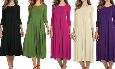 Women's 3/4 Sleeve Solid Beach Party Basic Casual A-line Midi Dress
