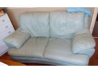 Light green leather sofa