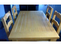 Solid Wood Dining Table with 4 Chairs - Excellent Condition