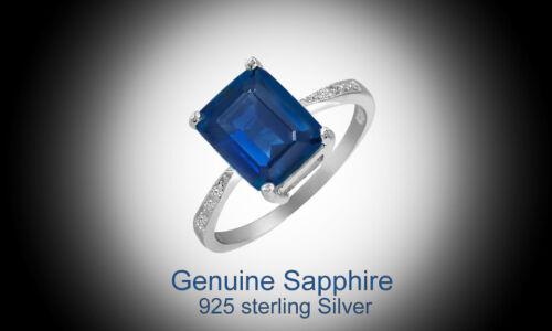 4.00 CTTW Genuine Sapphire Emerald Cut Sterling Silver Ring Sizes 6 - 9