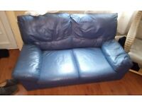Dark blue leather sofa