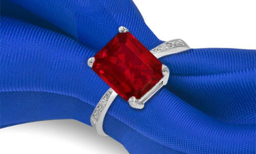 4.00 CTTW Genuine Ruby Emerald Cut Sterling Silver Ring Sizes 6 - 9