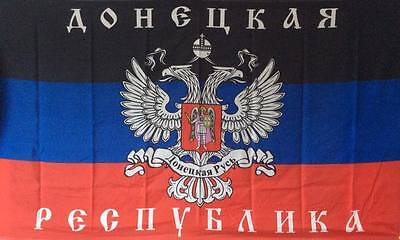 10x DONEZK Russia  - Russland & WAPPEN & Schrift Fahne 1,50x0,90m & Ösen Flagge