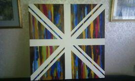 Union Jack art oil on canvas