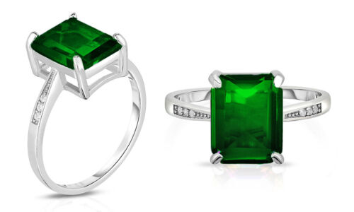 4.00 CTTW Genuine Green Emerald Cut Sterling Silver Ring Sizes 5 - 9