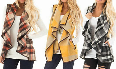 (Women's Sleeveless Plaid Vest Lapel Cardigan with Pockets)