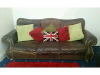Gorgeous 3 Seater Vintage Brown Soft Leather French Chesterfield Sofa Very Large Comfy