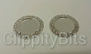 2  38mm DOUBLE BLING BOTTLE CAPS RHINESTONE CLEAR CAMEOS FOR 1