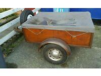Small trailer with cover, light board & spare wheel