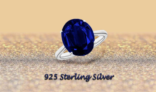 5.00 CTTW Genuine Sapphire Oval Cut 925 Sterling Silver Ring Sizes 6-9