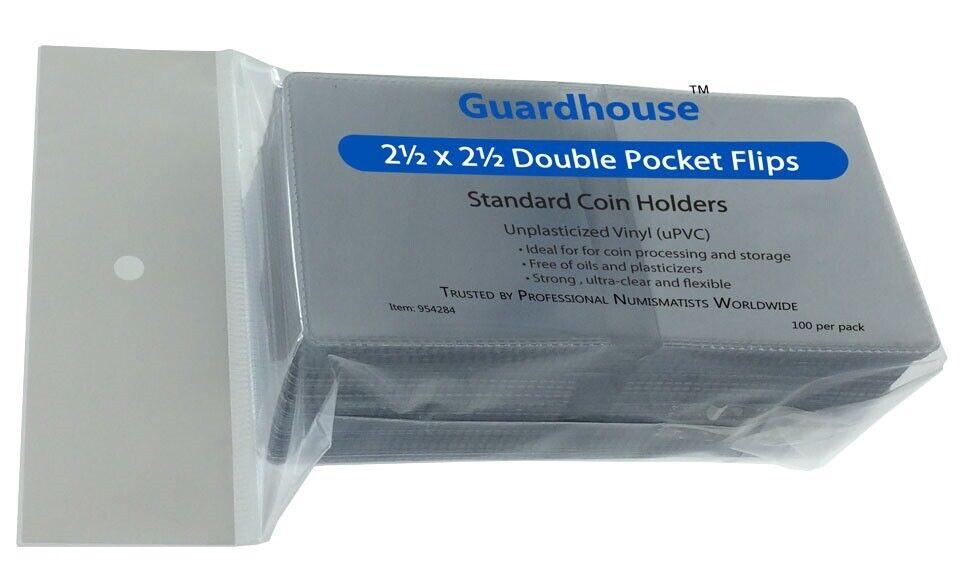 Plastic Holders 100 2.5x2.5 Double Pocket Vinyl Coin Flips for Storage