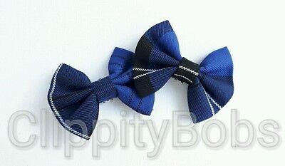 LADIES GIRLS HANDMADE RAMSAY TARTAN BLUE & BLACK CHECK FABRIC SHOE BOW CLIPS