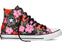 Andy Warhol Converse floral hi tops trainers. size 5. new in box