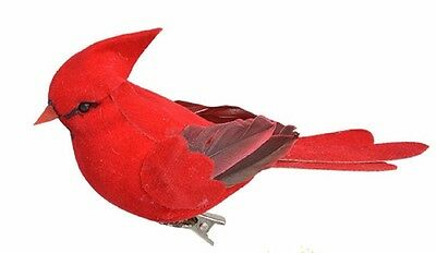 "New Clip-On Feathery Bird Ornaments, 4½"" Red Bird Cardinal"