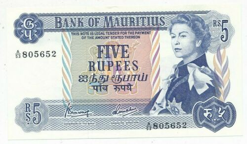 1967 MAURITIUS FIVE 5 RUPEES-CRISP UNCIRCULATED NOTE-SHIPS FREE!