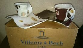 Brand new 2 sets of Villeroy & Boch New Wave Espresso Cup/Party Plate Sets