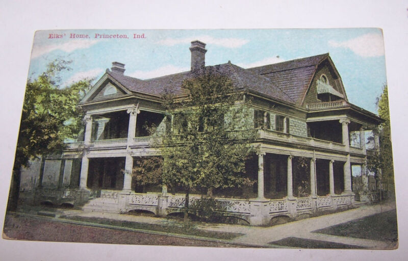 1911 Elks Home PRINCETON INDIANA Postcard