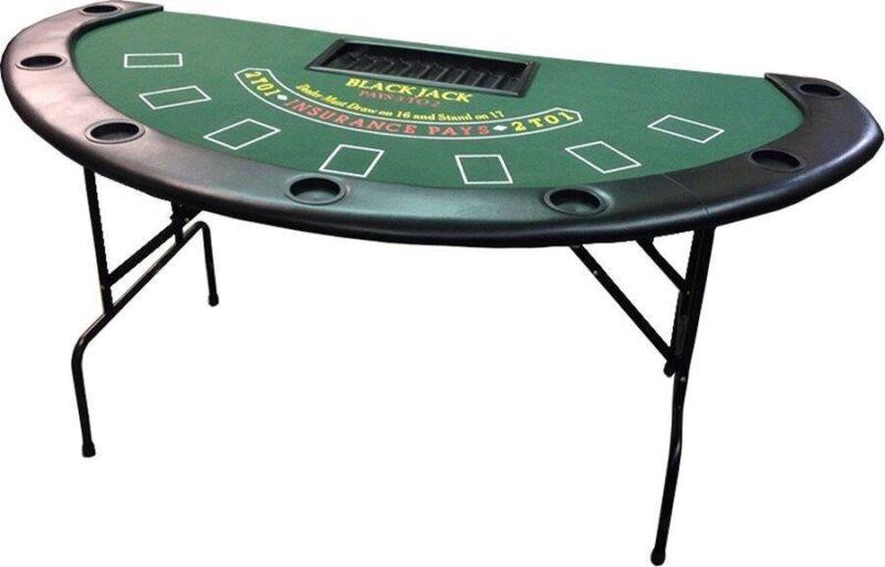 "71"" Blackjack Table with Folding Legs (Green Felt) Casino Style FREE SHIPPING *"