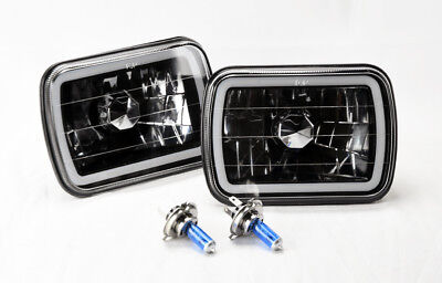 "7x6"" H4 Black Chrome CCFL Halo Glass Headlight Conversion w/ Bulbs Pair Jeep"