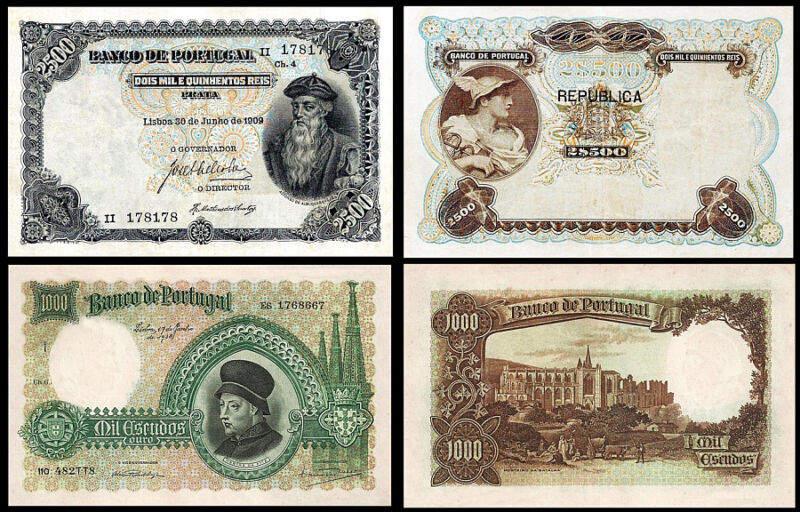 !COPY! PORTUGAL 2500 REIS 1909 + 1000 ESCUDOS 1938 BANKNOTES !NOT REAL!