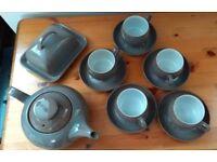 Crockery - Teapot, cups & saucers, butter dish - Denby greystone