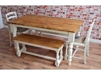Six-Seater Rustic Farmhouse Dining Set with Refectory Benches and Vintage Ladder Back Dining Chairs