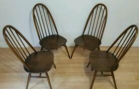A set of 4 Quaker Windsor Antique Ercol chairs