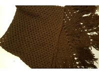 Scarf knitted with love in chocolate brown colour