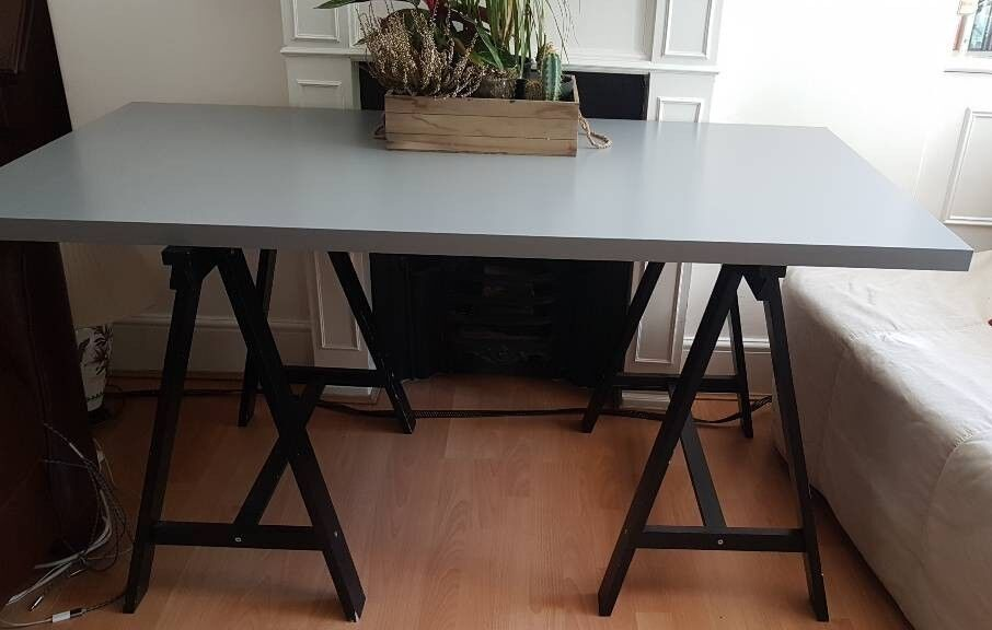 Ikea Linnmon Table Top Desk Office With Black Oddvald Trestle Stands