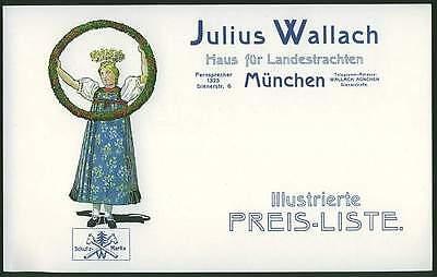 München um 1910 Tracht Trachten Katalog Preisliste Fa Julius Wallach Volkstracht