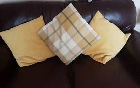 Yellow and grey check / tartan handmade cushion cover and yellow cushions
